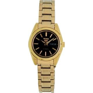 Seiko Women's '5 Automatic' Goldtone Black Dial Watch