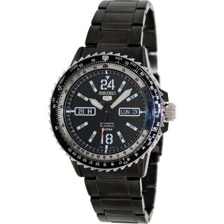 Seiko Men's Grey Stainless Steel Black Dial Automatic Watch
