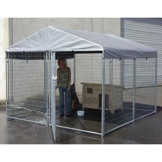 Lucky Dog Galvanized Kennel with Cover