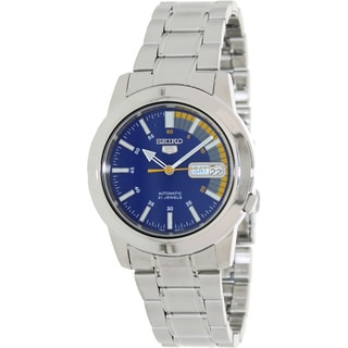 Seiko Men's Automatic Silver Stainless-Steel Blue-Dial Automatic Watch