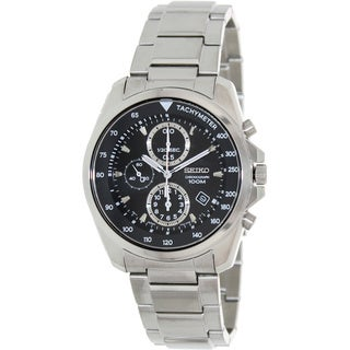 Seiko Men's Silver Stainless-Steel Black Dial Quartz Watch