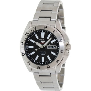 Seiko Men's '5 Automatic' Stainless Steel Black Dial Watch