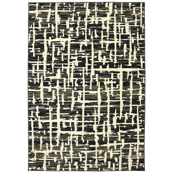 Karastan Panache Grasscloth Black Rug (8' x 10')
