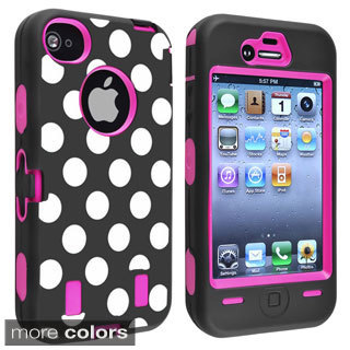 INSTEN Hot Pink/ Dots Hybrid Phone Case Cover for Apple iPhone 4/ 4S
