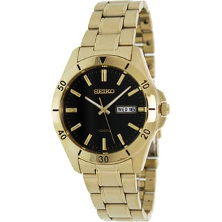 Seiko Men's Gold Stainless-Steel Black Dial Quartz Watch