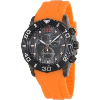 Swiss Military Hanowa Men's Oceanic Chrono Orange Rubber Swiss Grey Dial Quartz Watch