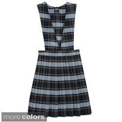 French Toast Girls V-neck Pleated Plaid Jumper