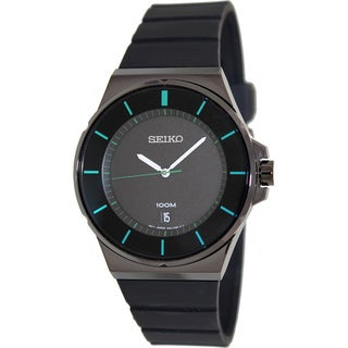 Seiko Men's SGEG23 Black Silicone Quartz Watch
