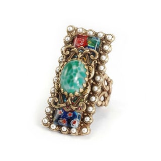 Sweet Romance Bronzetone Millefiori Glass Ring