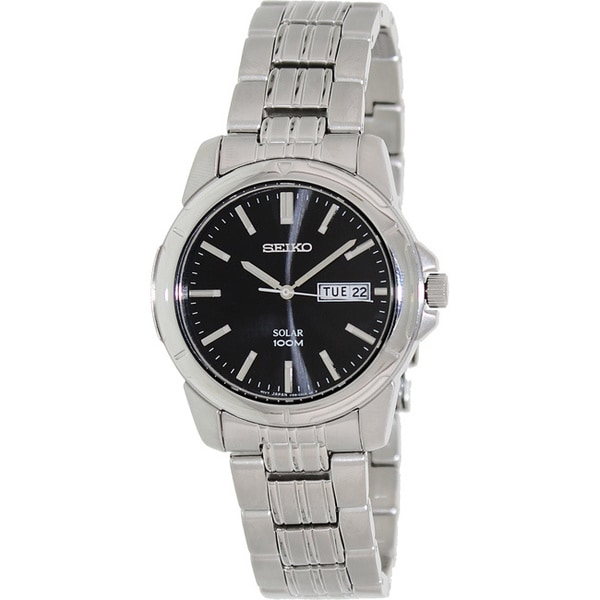 Seiko Men's Solar Black Dial Stainless Steel Watch