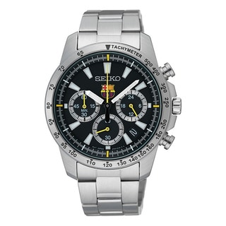 Seiko Men's Silvertone Stainless Steel Black Dial Quartz Watch