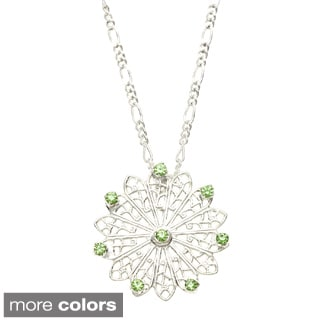 Filigree and White Crystal Necklace