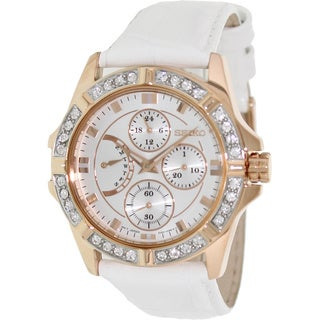 Seiko Women's White Leather Quartz Watch with Silver Dial