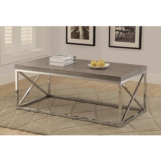 Reclaimed-look Dark Taupe/ Chrome Metal Cocktail Table
