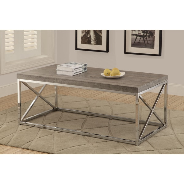 Reclaimed Look Dark Taupe/ Chrome Metal Cocktail Table Deep</li></ul><br><b> <i>assembly Required</i></b><br>