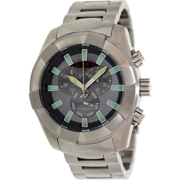 Android Men's Naval Silver Stainless Steel Swiss Quartz Watch with Black Dial
