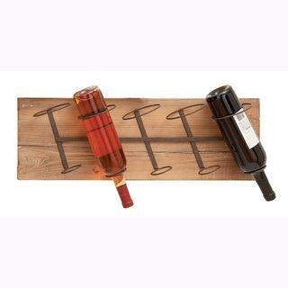 Wood and Metal Wall Wine Rack