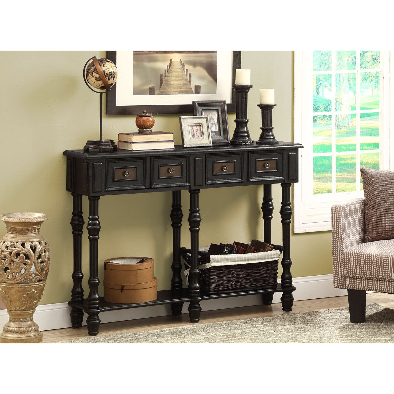 Traditional antique black veneer 48 inch console table for Sofa table 48 inches