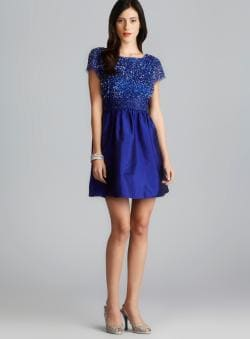 Adrianna Papell V Back Sequin & Beaded A-Line Dress