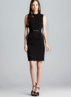 Calvin Klein Pleated Belted Peplum Dress