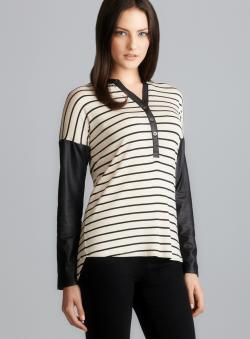 Romeo & Juliet Couture Faux Leather Sleeves & Trim Striped Knit Top