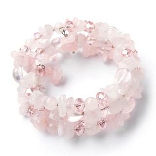 Pink Quartz and Crystal Bead Wrap-Around Bracelet (China)