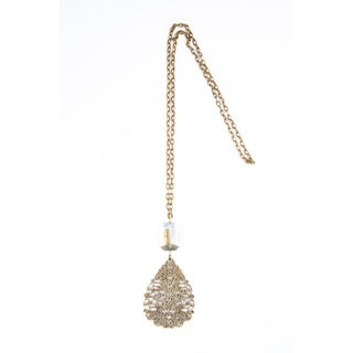 Antique Gold Pendant and Crystal Bead Chain Necklace (China)