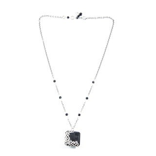 Square Black Onyx with Silver Overlay Pendant Necklace (China)