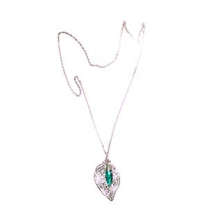 Silver-tone Leaf Pendant with Green Crystal Bead Chain Necklace (China)