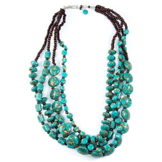 Turquoise Howlite and Wood Four-Strand Necklace (China)