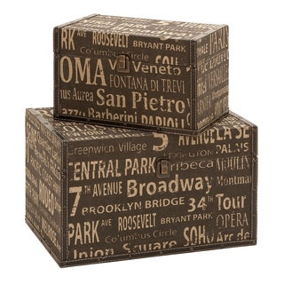 Classic Old-time Wood Leather Box Set (set of 2)