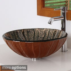 Antique Copper Design Tempered Glass Bathroom Vessel Sink with Faucet Combo