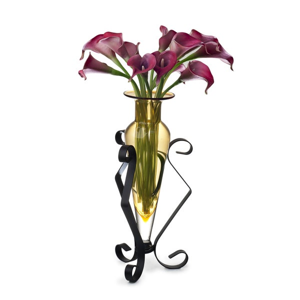 Amber Amphora Glass Vase on Metal Stand