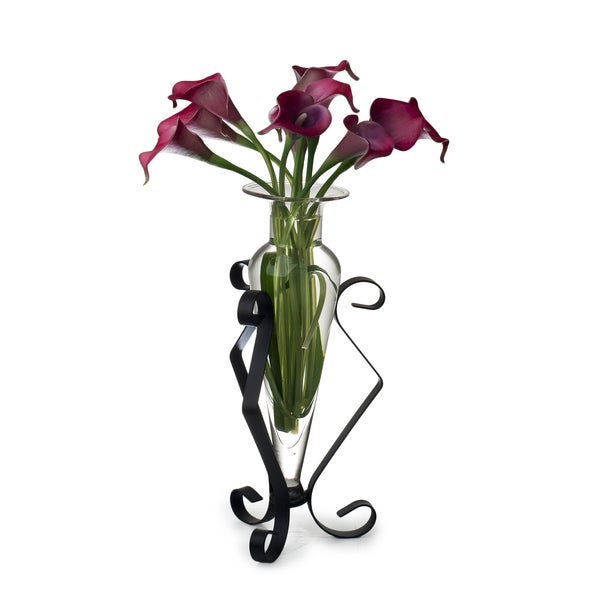 Clear Amphora Glass Vase on Metal Stand