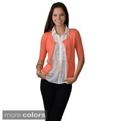 Journee Collection Juniors Short-sleeve Button-up Cardigan