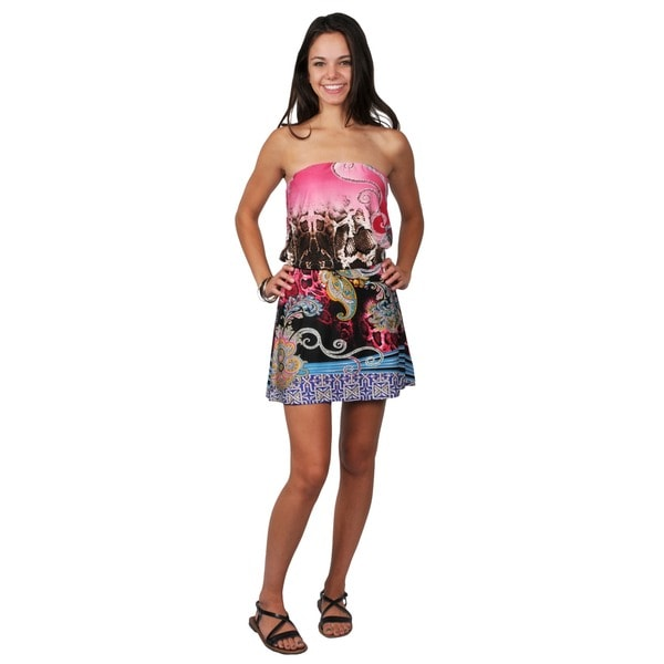 Journee Collection Junior's Strapless Tie Waist Tunic Dress