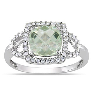 Miadora 10k White Gold Green Amethyst and 1/5ct TDW Diamond Ring (G-H, I1-I2)