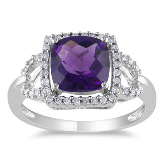 Miadora 10k White Gold Amethyst and 1/5ct TDW Diamond Ring (G-H, I1-I2)
