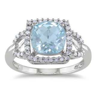 Miadora 10k White Gold Blue Topaz and 1/5ct TDW Diamond Ring (G-H, I1-I2)