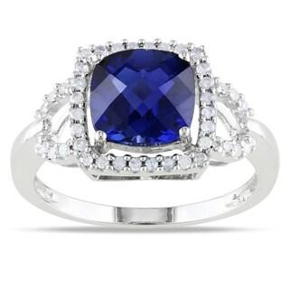 Miadora 10k White Gold Sapphire and 1/5ct TDW Diamond Ring (G-H, I1-I2) with Bonus Earrings