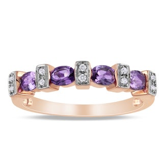 Miadora Pink-plated Silver Oval Amethyst and Diamond Ring
