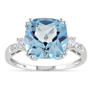 Miadora 10k White Gold Blue Topaz, Created White Sapphire and Diamond Ring