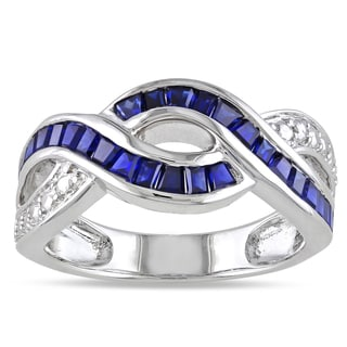 Miadora Sterling Silver Created Sapphire Ring
