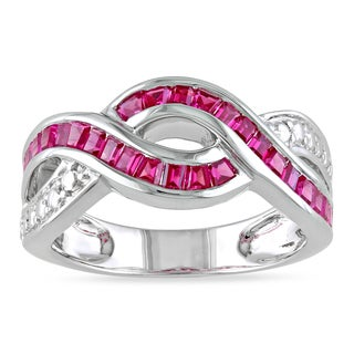Miadora Sterling Silver Created Ruby Ring