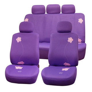 FH Group Purple Flower Embroidery Airbag Compatible Car Seat Covers