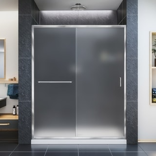 DreamLine Infinity-Z Frameless Sliding Shower Door and SlimLine 34 x 60-inch Single Threshold Shower Base