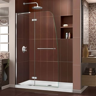 DreamLine Aqua Ultra Frameless Hinged Shower Door and SlimLine 32 x 60-inch Single Threshold Shower Base