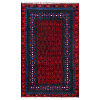 Afghan Hand-knotted 2'5 x 4'1Tribal Balouchi Dark Grey and Red Wool Rug
