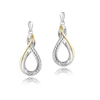 DB Designs Sterling Silver Diamond Accent Twisted Teardrop Dangle Earrings