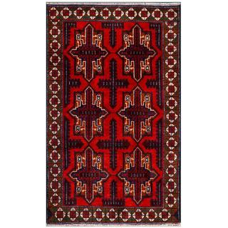 Afghan Hand-knotted Tribal Balouchi Red/ Navy Wool Rug (2'7 x 4'4)